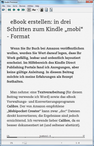 Kindle eBook im mobi format