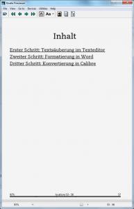 Kindle eBook erstellen - Verzeichnis